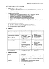 Notes 1 - Managerial Accounting & buss environmemnt