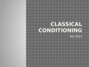 PSY1101 F13 Classical Conditioning