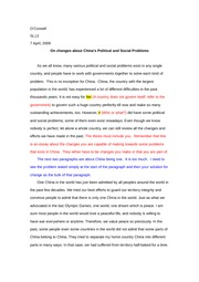 O' Connell first draft change essay