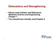 6. Strengthening and Dislocations
