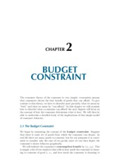 Chapter 2 Budget Constraint