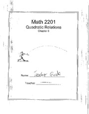 Math 2201 Quadratic Relation Notes