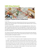 Shared Purpose Drives Collaboration