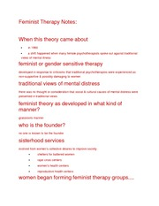 Feminist Therapy Notes