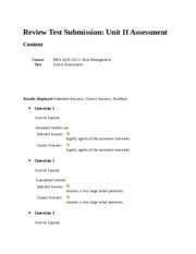 Review Test Submission Unit II Assessment