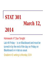 17 STAT 301 March 12 - 1-way ANOVA