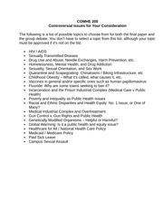 Running List of Controversial Issues