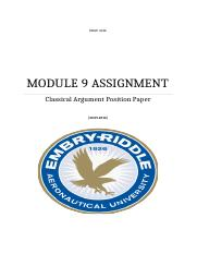 MODULE 9 ASSIGNMENT Classical Argument Paper .docx