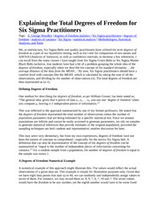 Explaining the Total Degrees of Freedom for Six Sigma Practitioners