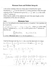 Riemann Sums and Definite Integrals Notes