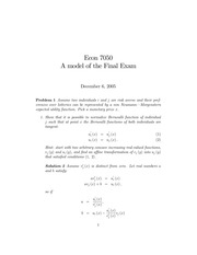 ECON 7050 Fall 2005 Practice Final Exam Solutions