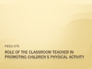Role of Classroom Teacher in PA Promotion