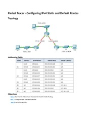 6.2.2.4 Packet Tracer - Configuring IPv4 Static and Default Routes Instructions