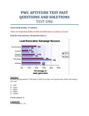 PWC APTITUDE TEST PAST QUESTIONS AND SOLUTIONS pdf - PWC