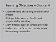 Sampling Theory in Marketing Lecture Slides