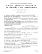 A Staged Optimization Framework for Cost Optimized WiMax Network Design.