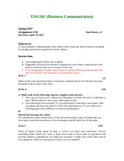 Business Communication - ENG301 Spring 2007 Assignment 02.doc