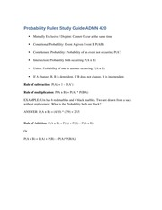 Probability Rules Quiz Study Guide