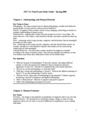 ANT 111 Final Exam Study Guide - Spring 2008