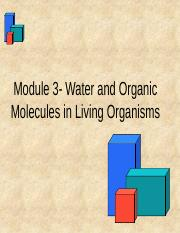 Module 3 - Water and Organic Molecules without audio