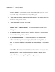 Components of a Written Proposal
