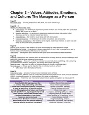 Study Guide - Chapter 3 - Values, Attitudes, Emotions, and Culture, The Manager as a Person