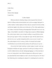 ASL Cochlear Implant Essay