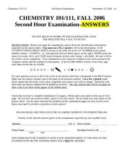CHEM101-2006FALL-EXAM_2-ANSWERS