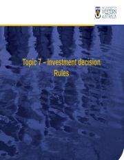 Chapter07 Investment Decision Rules