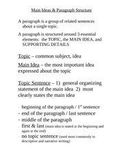 Main Ideas and Paragraph Structure