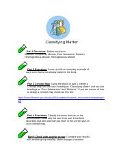 Classifying Matter Concept Map
