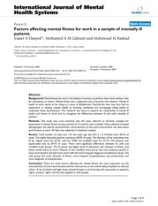 Factors affecting mental fitness for work in a sample of mentally ill