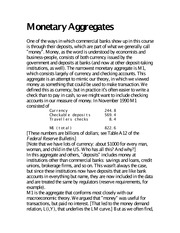 Monetary Aggregates notes