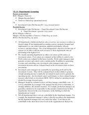 Ch. 21 - Departmental Accounting Notes