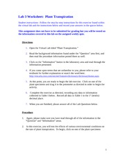 scin 130 lab 3 worksheet plant transpiration Scin130 student warning: this course syllabus is from a previous semester archive and  lab 3 assignment(s) assignment 3—abstract draft  resource library .