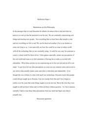 Meditations on first Philosophy reflection paper