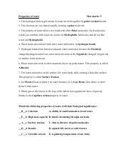 Properties of water worksheet - Properties of water Max ...