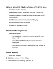 SERVICE QUALITY THROUGH INTERNAL MARKETING Notes