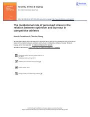 The mediational role of perceived stress in the relation between optimism and burnout in competitive
