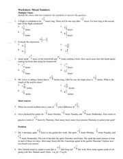 Worksheet Mixed Numbers