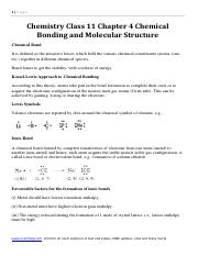 Chemistry class 11 chapter 4 chemical bonding and molecular chemistry class 11 chapter 4 chemical bonding and molecular structure 1page chemistry class 11 chapter 4 chemical bonding and molecular structure malvernweather Image collections