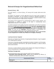Assessment  Research Essays for Organisational Behaviour (2)