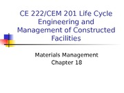 Chapter 18 - Materials Management - outline