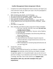 Conflict Management Styles Assignment 100 points 14e 2016