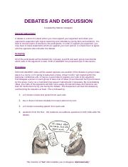 DEBATES AND DISCUSSION
