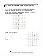 Congruent Triangles Geometry Name Date Rigid Motions And