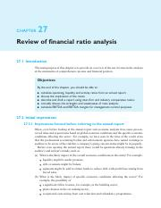 28. Chapter 27 - Review of financial ratio analysis