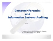 Computer Forensics and IS Systems Auditing April 2011