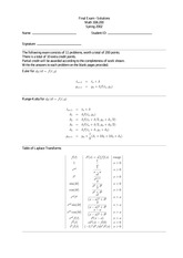 Final Exam Solution on Differential Equations