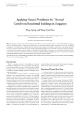 Applying Natural Ventilation for Thermal Comfort in Residential Buildings in Singapore